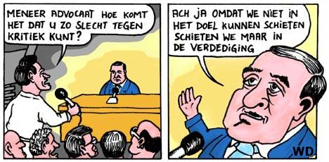 cartoon Advocaat en kritiek