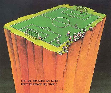 we zijn de bal kwijt voetbal cartoons  voetbal nl