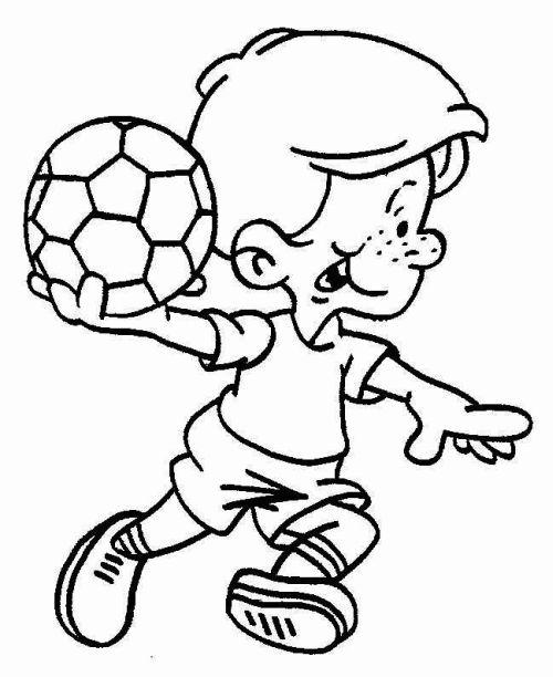 kleurplaat Kind met bal in hand