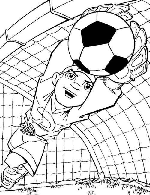 kleurplaat Keeper vangt de bal