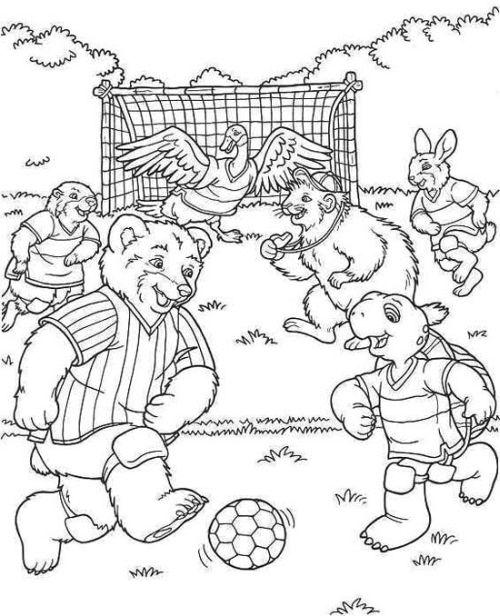 kleurplaat Dieren voetbal elftal