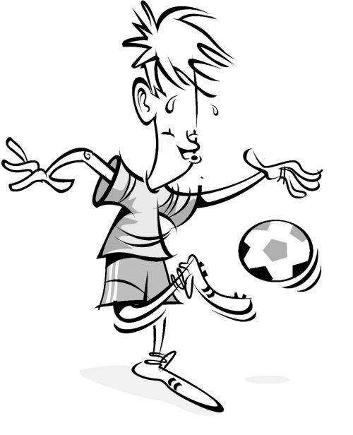 jongen met een bal kleurplaat alles voetbal