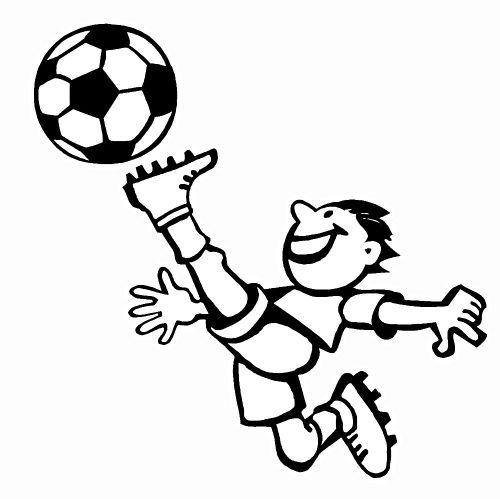 kleurplaat Jongen schiet bal hoog