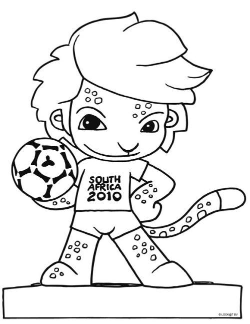 kleurplaat Mascotte van de kampioenschappen 2010 in zuid-afrika