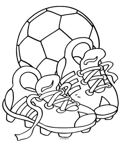 kleurplaat Voetbalschoenen met bal
