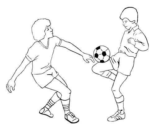 kleurplaat Twee jongens spelen voetbal