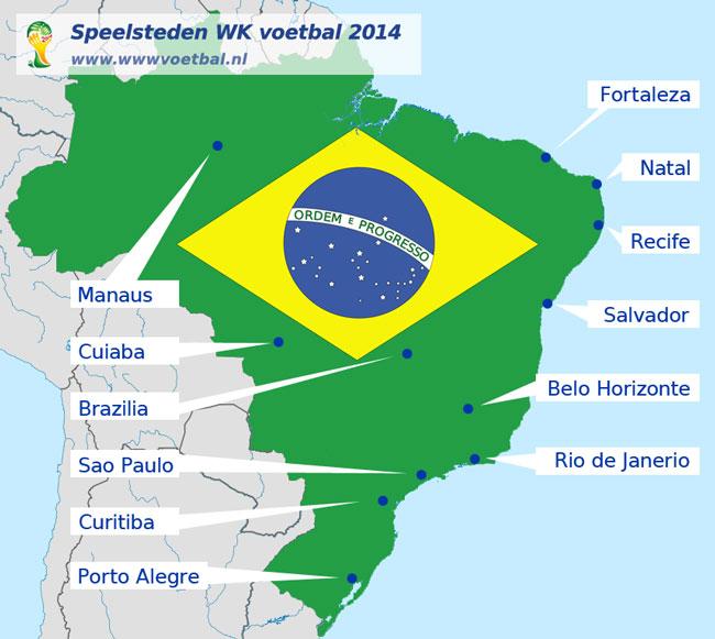 kaart met speelstadions EK voetbal 2008